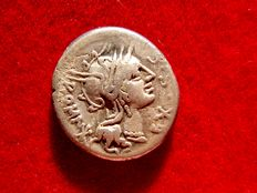 Roman Republic - M. Sergius Silus silver denarius (3,81 g., 18 mm.) minted in Rome in 116-115 B.C. Horseman galloping left with sword.