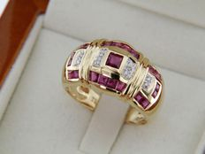 18 kt GOLD jeweller's ring with Rubies and Diamonds