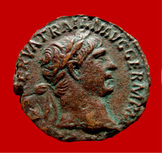 Roman Empire - Trajan (98-117 A.D.) bronze as ( 9,17g. 25 mm.) from Rome mint. 101 - 102 A.D. TR POT - COS IIII P P./ S/C. SPQR.