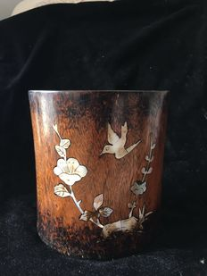 A large rosewood  brush pot - China - early 20th century