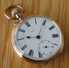 "H. THIÉBAUD FLEURIER 14K Gold pocket watch ""open face"", 47mm – Antique, late XIX Century."