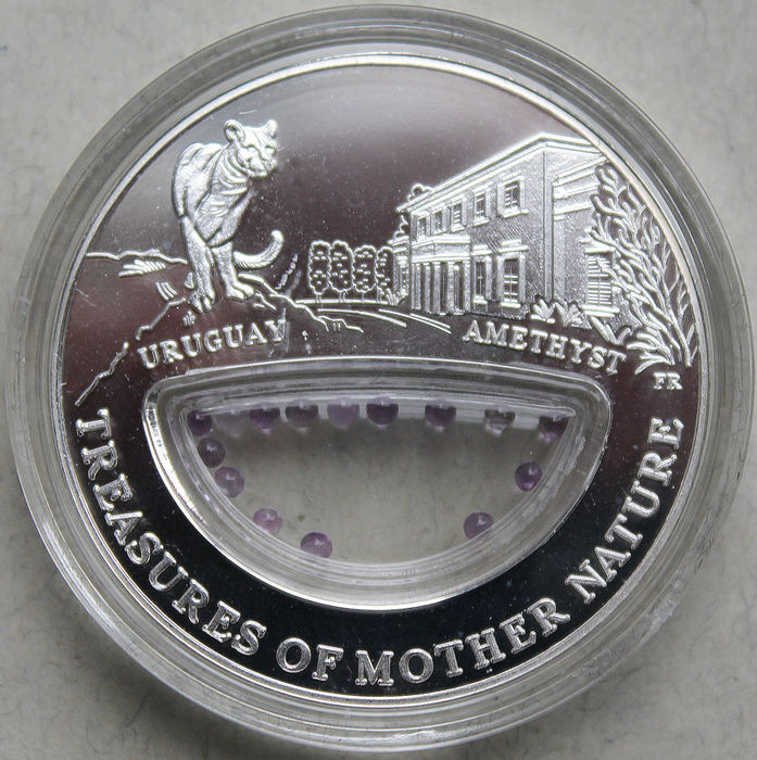 Fiji - 1 Dollar 2012 'Treasures of Mother Nature - Uruguay Amethyst' - 20 Gr. 999. - Silver