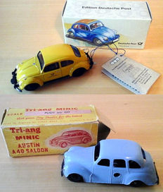 BUB, Germany/Tri-ang, England - Length: 11.5 cm - injection VW Beetle and plastic mini Austin A40 saloon with clockwork motor, 50/2000s