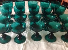 Lot of twenty massive blown emerald green glasses