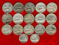 Spain – Provisional Government (1869-1870), set of 15 coins of 2 silver pesetas, 1870 – DE-M. Pair of 1 silver coins (Prov. Gov. 1869 and Spain – 1870). (17)