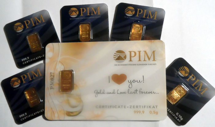 "6 pcs. gold bars Nadir PIM  Gold fine gold 999.9/1000 sealed 24 Karat Goldbarren Bullion LBMA certified ;  1 pcs. 0.5g  Giftcard ""I love you"",  5 pcs. Goldbars each 0.10g"