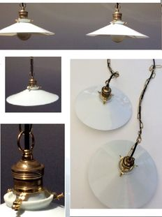 Pair of antique white opaline lamps - approx 1930