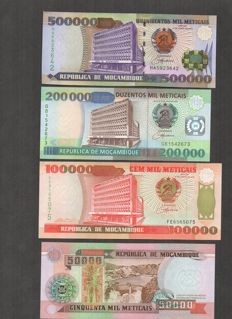 Mozambique - 50,000; 100,000; 200,000 and 500,000 meticais - 1993/2003 - Pick 138, 139, 141 and 142
