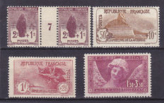 France 1926/1930 - Selection of Stamps including Orphans and smile of Reims - Yvert No. 229, 230, 231 and 256