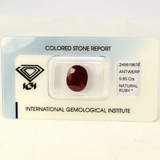Purplish Red - Rubin - 5.65 ct