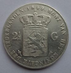 Netherlands – 2½ guilder coin 1849 Willem II – silver