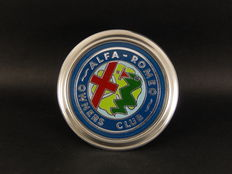 Vintage Chrome Alfa Romeo Owners Club Classic Car Grille Badge - diameter 8 cm
