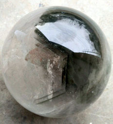 Enormous Rock Crystal sphere, with Chlorite inclusions - 200mm - 12kg