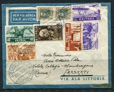 Kingdom of Italy – 1939 – Airmail – Letter via Ala Littoria with multi-colour stamps from Ethiopia and Eritrea.