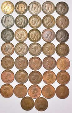 United Kingdom - Farthings 1920 to 1956 date run - Edward VII - George V - George VI - Elizabeth II