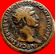 Roman Empire - Trajan (98-117 A.D.) orichalcum dupondius ( 14,62 g, 27 mm.) from Rome mint. S P Q R OPTIMO PRINCIPI. S/C