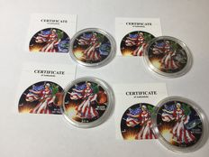 USA - 4 x 1 $ - American Silber Eagle - Sonderserie 2014 - Liberty in Space Mars - mit Zertifikat