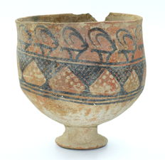Rare Indus Valley Painted Terracotta Goblet with Zoomorphic Motifs - 105 mm