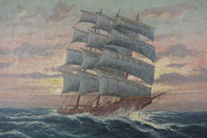 Rough sea with sailing ship-oil on canvas-20th century