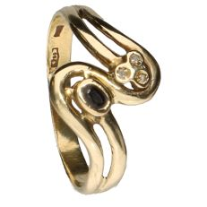 18 kt Yellow gold ring set with a sapphire and 3 diamonds of 0.002 ct each - Inner size: 18.75 mm