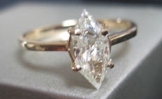 14K yellow Gold Solitaire Diamond Ring 0.70 ct - size 52