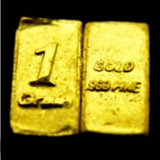3 piece 1 GR gold ingots of 999.9 gold 24 carat and 6 gold nuggets from Alaska and a silver ingot