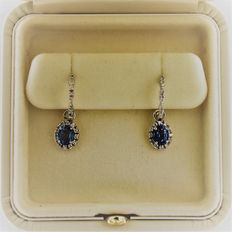 Bedetti 'Zaffiro' (Sapphire) 18 kt white gold earrings – oval cut blue sapphire totalling 1.47 ct and diamonds totalling 0.30 ct