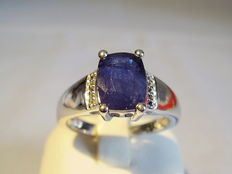 Silver 925 men's ring with blue sapphire solitaire and white topazes - size 59