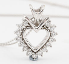 18kt gold diamond heart necklace total 0.25ct. G-H/SI1-SI2. Necklace chain lenght 45.00cm & 6.30gr.