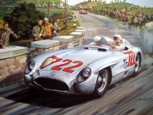 """Mille Miglia 1955"" - Mercedes-Benz 300SLR/Moss Jenkinson #722 (Winners) - Signed By the Artist and Stirling Moss"