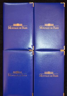 France – Year packs (Proof) 1999, 2000, 2001 and 2002