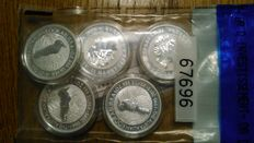 Australian – Lot of 5 'Kookaburra' dollars, 2015 – silver