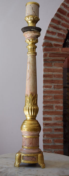 Empire style - big wooden candlestick painted with marble effect, with gold foil gilding - Veneto, Italy, 1800-1830