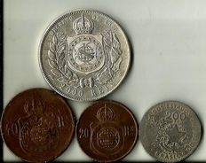 Brazil – D. Pedro ll – 2000, 200, 40 and 20 Reis – 1868 to 1901