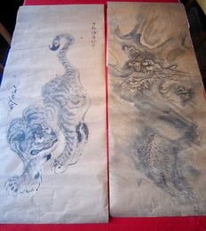 Pair of tiger and dragon makuri on paper, by Togan, Kano school - Japan - late 18th century