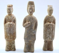 Chinese Ceramic Soldier and Two Court Ladies Figurine Collection - 210 - 230 mm (3)