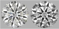 Pair of Round Brilliant Diamonds D-VS2  total 1.00 ct GIA serial # 1648-1647 original image-10x