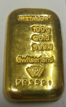Hand cast Gold bar, 100 gr, Metalor Switzerland with certificate