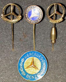 Four Mercedes Benz pins - Including 2 gilded 100,000 and 200,000 km