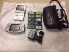 Lot of 2 Nintendo Game Boy Advance SP and Came Boy Advance  console with charger and 10 games.