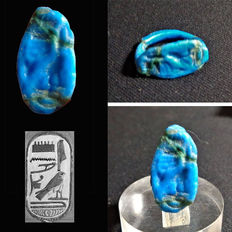 Egyptian faience signet ring with cartouche of Pharaoh Horemheb - 20 mm