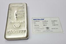 1 kg of silver, Metalor Suisse with certificate
