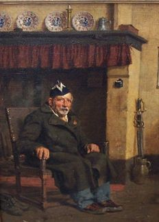 Aloïs Boudry (1851-1938) - Veteran in front of the fireplace