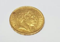 Golden bullion coin Napoleon, rooster 20fr