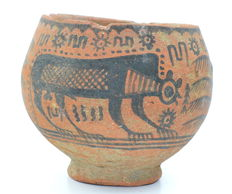 Indus Valley Painted Terracotta Bowl with Monkeys and Deer - D 95 mm x H 80mm