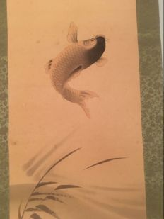 Japanese scroll – hand-painted on silk, carp jump – ca. 1900