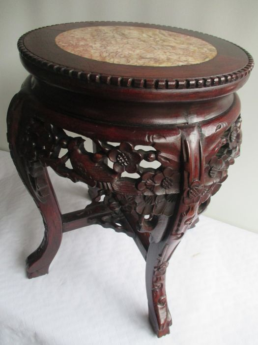 Ornately Carved Wooden Side Table With Pink Marble Top China Mid - Marble and wood side table