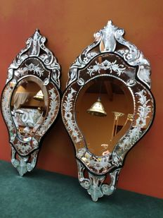 A pair of Venetian cut glass mirrors - France - second half of 20th century
