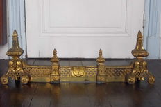 Andirons and bar in gilded and moulded bronze Napoleon III style