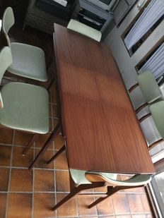 Louis van Teeffelen for WeBe - dining table with 6 chairs.
